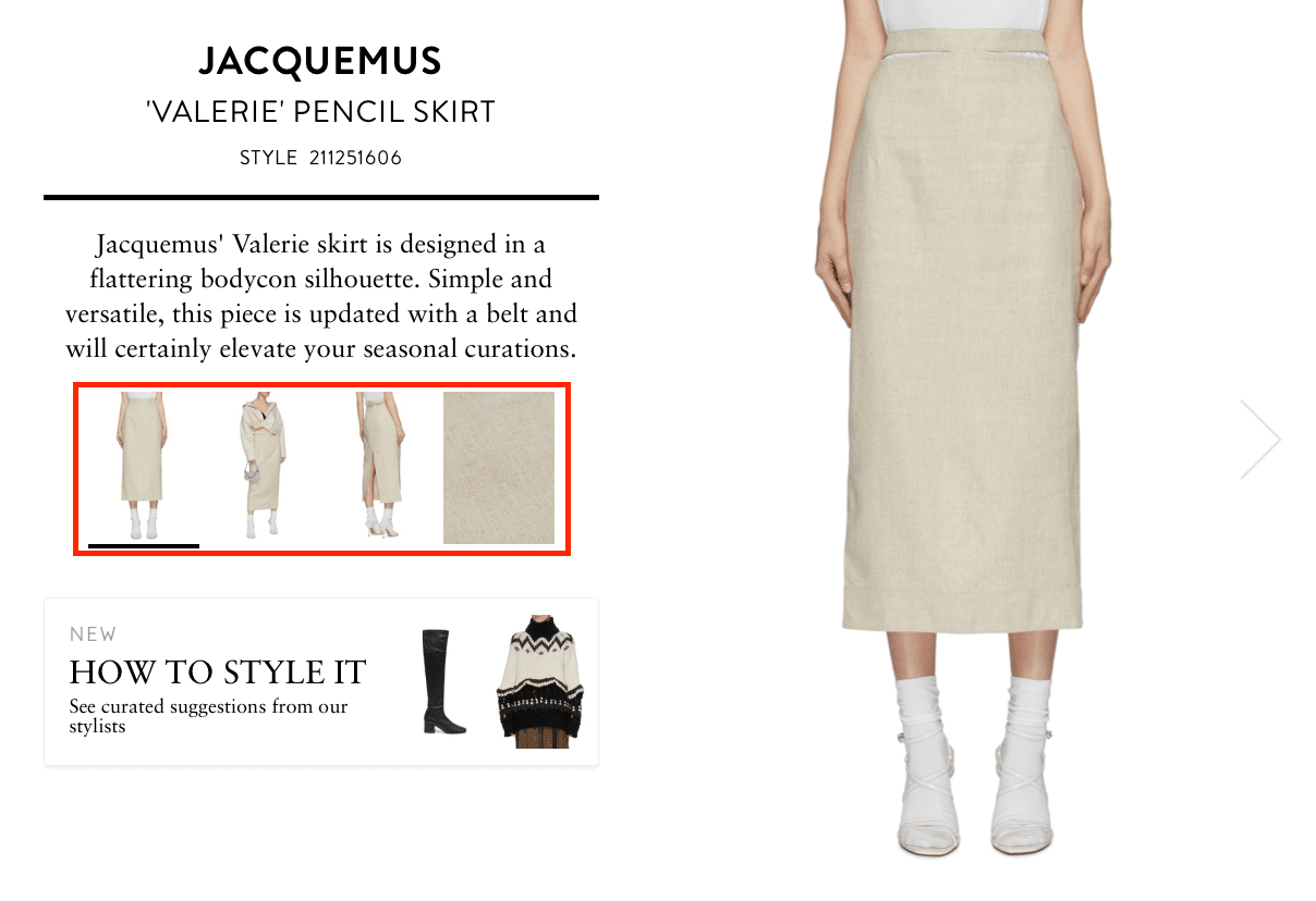Ecommerce product pages optimization Jacquemus skirt
