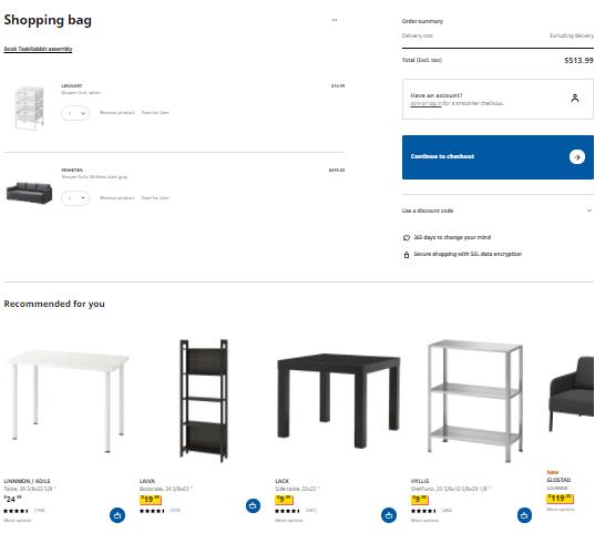 IKEA cart page