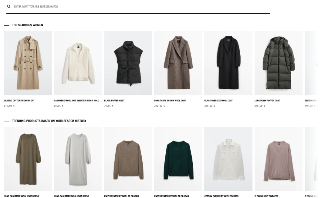 Massimo Dutti personalised search recommendations