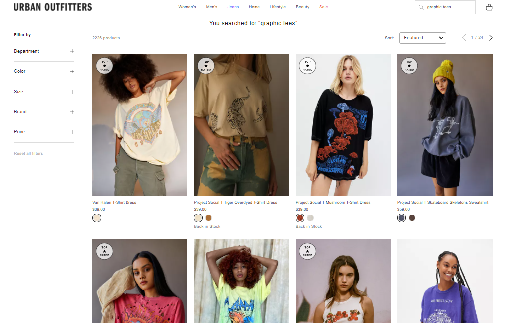 Urban Outfitters search results with badges